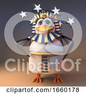 Poor 3d Penguin Pharaoh Tutankhamun Is Dizzy With Stars In His Eyes