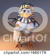 Keen Gamer Penguin Pharaoh Tutankhumun Playing A Video Game With A Joystick Controller