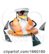 Poor Floating Sailor Penguin In Sailors Hat Is Floating Amidst A Shoal Of Sharks