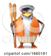 Nautical Penguin Sailor In Sailor Hat And Lifejacket Holds A Pair Of Oars