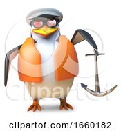 Nautical Sailor Penguin In Life Jacket And Sailors Cap Holding An Anchor