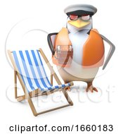 Nautical Penguin Sailor In Lifejacket And Sailors Cap Drinks A Pint Of Beer Near Deckchair