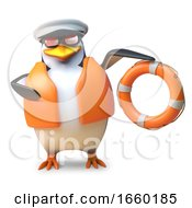 Nautical Sailing Penguin In Lifejacket And Captain Hat Holds A Life Ring