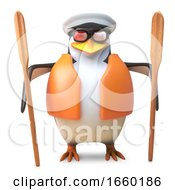 Cheeky Sailor Penguin In Captains Hat And Lifejacket Holding Two Oars