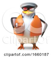 Thirsty Captain Penguin Sailor In Nautical Outfit Drinking A Pint Of Beer