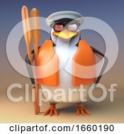 Funny 3d Captain Penguin The Sailor Stands Ready With His Oars