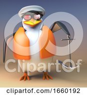 Funny Cartoon 3d Penguin Weights The Anchor Ready For Mooring