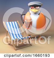 Funny 3d Cartoon Captain Penguin The Sailor Relaxes At The Beach With Deck Chair And Pint Of Beer
