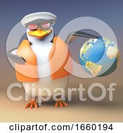 Cartoon 3d Penguin Captain Sailor Navigates With His Globe Of The World