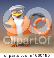 Funny 3d Penguin Sailor Captain Comes To The Rescue With His Buouyancy Life Ring