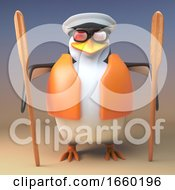 Cartoon Captain Penguin The Salty Sailor With Two Oars