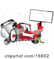 Clipart Picture Of A Red Lawn Mower Mascot Cartoon Character Waving A Blank White Sign by Toons4Biz