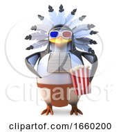 Poster, Art Print Of Native American Indian Chief Penguin Eats Popcorn While Watching A 3d Movie