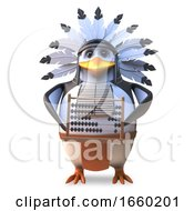 Cartoon Native American Indian Chieftain Penguin Using An Abacus For Maths