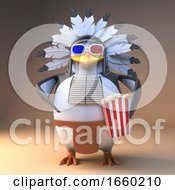 Cartoon Native American Indian Penguin Chief In Feathered Headdress Eatpopcorn At A 3d Movie