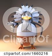 Cool Native American Indian Penguin Chief In Feathered Headdress Pointing A Pistol At The Viewer 3d Illustration