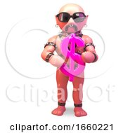 Gay Man In Leather Fetish Outfit Holding A Pink USA Dollar Symbol