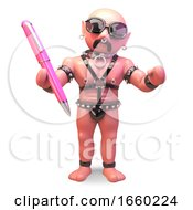 Bald Gay Man In Leather Fetish Outfit Holding A Pink Pen