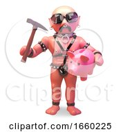Financially Challenged Gay Leather Fetish Man Smashing Piggy Bank With Hammer