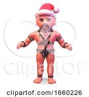 Fetish Gay Leather Man Wearing A Christmas Santa Hat