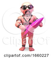 Cool Gay Bald Man In Fetish Leather Outfit Holding A Pink Rocket