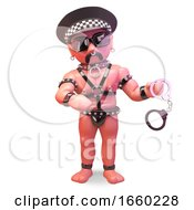 Bald Gay Leather Fetish Man Wearing A Police Helmet And Holding A Pair Of Handcuffs