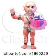 Gay Bald Man In Leather Fetish Outfit Holding A Giftwrapped Outfit