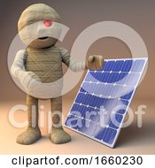 Poster, Art Print Of Cool 3d Cartoon Egyptian Mummy Monster Standing By A Renewable Energy Solar Panel