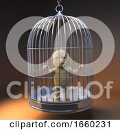 Funny Cartoon 3d Egyptian Mummy Monster Trapped In A Birdcage
