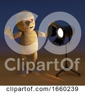 Startled 3d Cartoon Egyptian Mummy Monster Stares Into A Spotlight