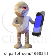 Connected Egyptian Mummy Monster Plays With His New Smartphone Tablet Device