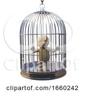 Funny Egyptian Mummy Monster Trapped In Birdcage Like A Canary