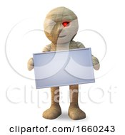 Egyptian Mummy Monster Holding A Blank Sign