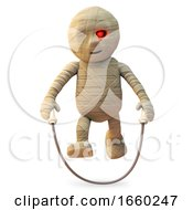 Happy Egyptian Mummy Monster Is Skipping With His Rope