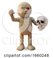 Funny Egyptian Mummy Monster Waves Hello While Holding A Human Skull by Steve Young