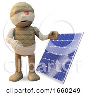 Poster, Art Print Of Ecology Minded Egyptian Mummy Monster Demonstrates His New Solar Power Solar Panel