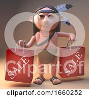 Lucky Native American Indian Has Bought Some Bargains At The Sales