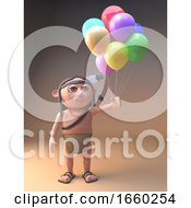 Native American Indian Celebrates With Many Coloured Party Balloons