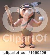 Cartoon Native American Indian Holding A Baseball Bat And Ball