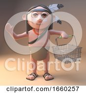 Shopping Native American Indian Carrying An Empty Basket