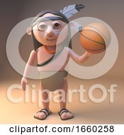 Sports Minded Native American Indian Playing With A Basketball