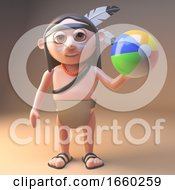 Cartoon Native American Indian Playing With A Beach Ball