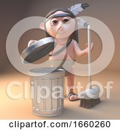 Cartoon Native American Indian Is Cleaning Up With A Broom And A Rubbish Bin