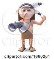 Native American Indian Man Using A Pair Of Binoculars