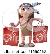 Native American Indian Man Holding Shopping Bags From A Sale