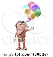 Native American Indian With Balloons To Celebrate A Party