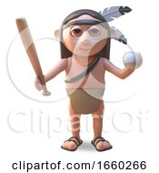 Sports Mad Native American Indian Man Holding A Baseball Bat And Ball