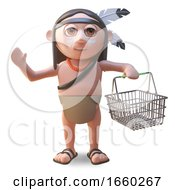Native American Indian Man Carrying A Shopping Basket