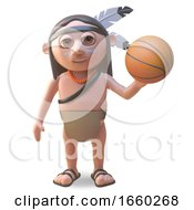 Native American Indian Man Playing With A Basketball
