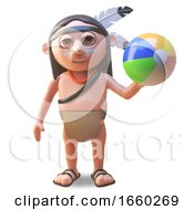Relaxed Native American Indian Man Plays With A Beachball